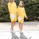 teplákové šaty mama a dcéra žlté