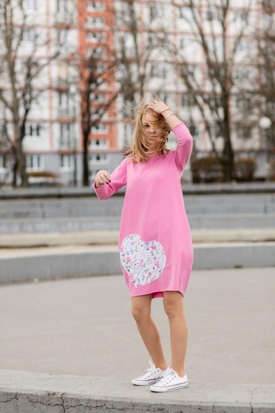 teplákové šaty mama a dcéra ružové